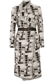 Donna Karan New York Belted jacquard coat