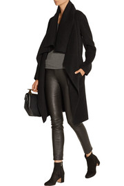Draped double-faced cashmere coat