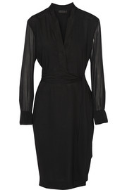 Belted stretch-crepe dress
