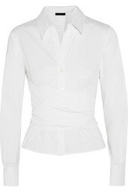 Wrap-effect stretch cotton-blend poplin shirt
