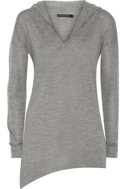 Asymmetric cashmere hooded sweater