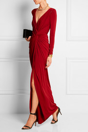 Twist-front draped stretch-jersey gown