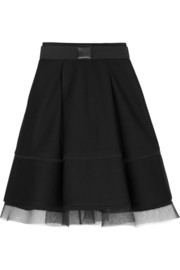 Pleated mesh-trimmed scuba-modal skirt