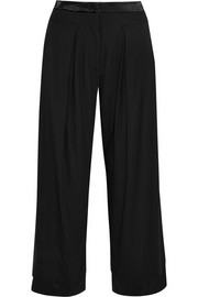 Satin-trimmed crepe wide-leg pants