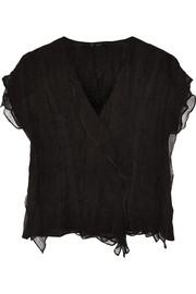 Crinkled silk-georgette top