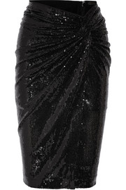 Twist-front sequined jersey skirt