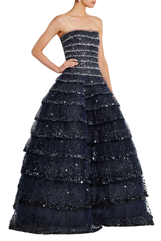 Oscar de la Renta Tiered sequin-embellished tulle gown