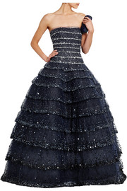 Tiered sequin-embellished tulle gown