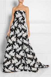 Oscar de la Renta Floral-embroidered satin gown