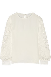 Lace-appliquéd silk-chiffon top