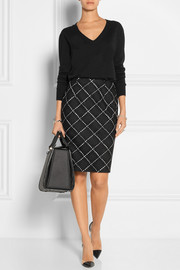 Checked wool-tweed pencil skirt