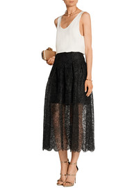 Oscar de la Renta Pleated lace skirt