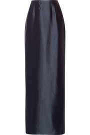 Silk-twill column maxi skirt