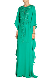 Oscar de la Renta Embroidered silk-crepe gown