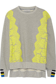 Gresham lace-trimmed cotton-jersey sweatshirt