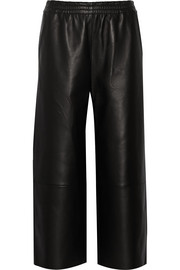 Phyllis leather wide-leg pants