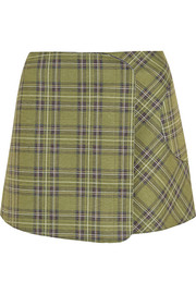 Plaid scuba-jersey wrap mini skirt