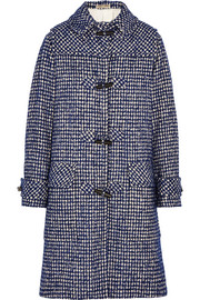 Houndstooth wool-blend duffle coat