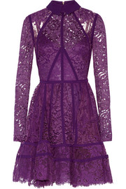 Paneled lace and silk-georgette mini dress