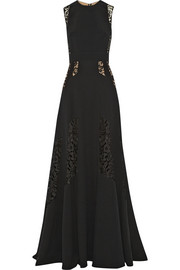 Lace-paneled stretch-cady gown