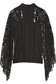 Draped chiffon-paneled lace top