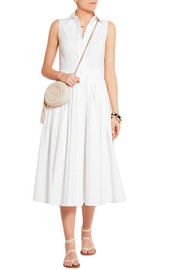 Pleated stretch-cotton poplin dress