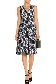 Pleated printed cotton-poplin dress