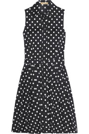 Michael Kors Polka-dot stretch-cotton poplin dress