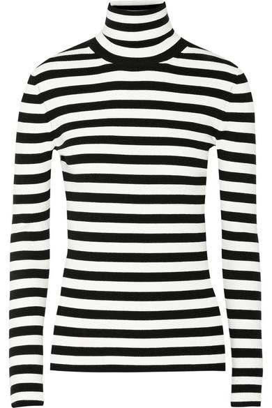 michael kors collection striped ribbed knit turtleneck. Black Bedroom Furniture Sets. Home Design Ideas