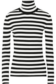 Michael Kors Striped ribbed-knit turtleneck sweater