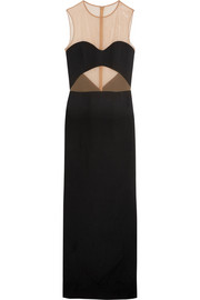Stretch mesh-paneled crepe gown