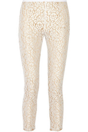 Cotton-blend guipure lace pants