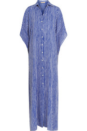 Mariner striped silk-crepe kaftan