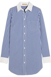 Striped stretch cotton-blend shirt