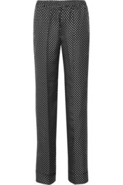 Polka-dot silk wide-leg pants