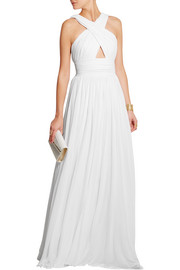 Cutout pleated stretch-jersey gown