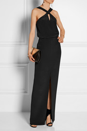 Cross-front silk-crepe gown