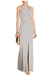 Backless cutout silk crepe de chine gown