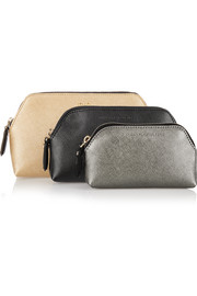 Voyage set of three textured-leather pouches
