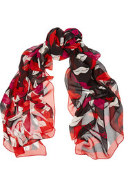 Eaden printed silk and cotton-blend scarf