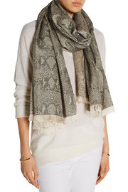 Snake-print metallic cotton-blend brocade scarf