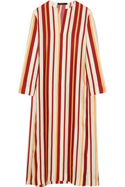 The Row Bruna striped woven silk midi dress