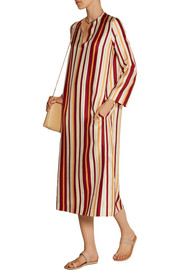 Bruna striped woven silk midi dress