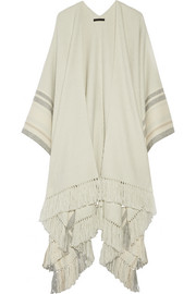 Kleya striped cashmere and silk-blend poncho