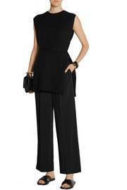 Ray pleated stretch-cady wide-leg pants