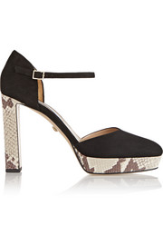 Mika suede and snake-effect leather platform pumps