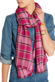 Plaid cashmere and silk-blend scarf