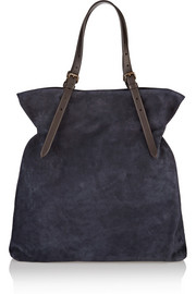 Suede and leather tote