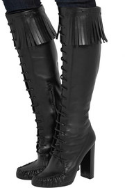 Fringed leather knee boots