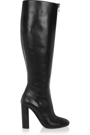 Zip-detailed leather knee boots
